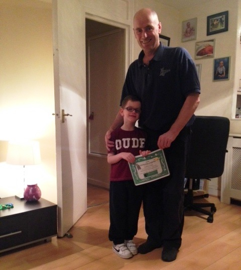 Andrew Conlon with his Dad, Michael, and BTA Certificate