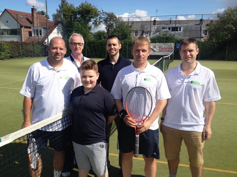 Left to right - Euan McGinn, Ian Conway (McGinn's coach), Caleb Duffy, Michael Fleming (umpire), Jonathan Pankhurst, Owen Hadden (Panky's coach)